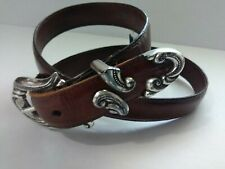 Womens Brighton Brown Croc Embossed Leather Vintage Belt Silver Tone Sz M.