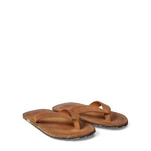 Ralph Lauren RRL Tan Roughout Suede Leather Flip Flops Sandals New $195