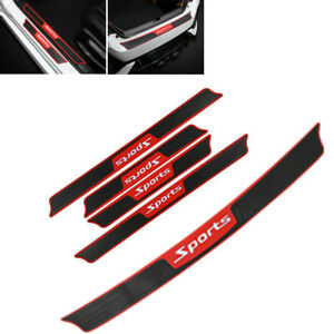 5PCS Car Door Rear Bumper Rubber Pad Guard Sill Plate Trunk Protector Trim Cover