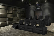 Italian Leather 4 Seater Home Theater Recliner Cinema Lounge & Console Tables