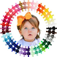 40colors 4.5In Grosgrain Ribbon Hair Bow Headband for Baby Girl Infants Toddlers