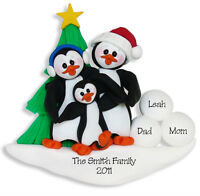 Black Bears in Sled Family of 3 RESIN HAND PAINTED Personalized Ornament Deb Co