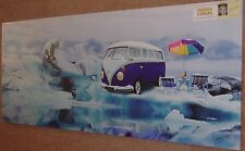 """VW camper On the Ice with a Polar Bear  48"""" x 20"""" Canvas on a wood frame Reduced"""