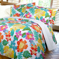 BALI Dotted Floral White Embroidered SINGLE Size Quilt Doona Cover Set