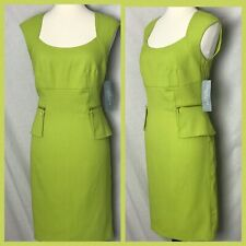London Times Petites Sz 10P Lime Green Zipper Accents Stealth Career Dress