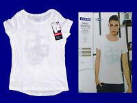 modernes sportliches Damenshirt T.-Shirt Fitnessshirt  weiß Gr. S-L wählbar NEU