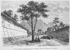 JAPAN Kyoto Mikado Palace Fortification Walls - 1882 Wood Engraving