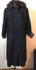 Vintage Halston Long Black Hooded Rain Coat w Leopard Trim US 8P UK Medium