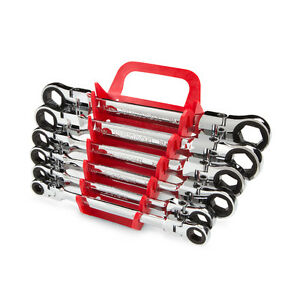 Flex-Head Ratcheting Box End Wrench Set with Store and Go Keeper, Metric,6-Piece
