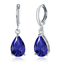 Sterling Silver Created Blue Sapphire & White Topaz Teardrop Leverback Earrings