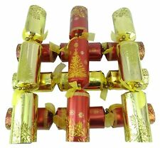 6 Large Size Luxury Dinner Party Christmas Crackers - Red & Gold (ES321)