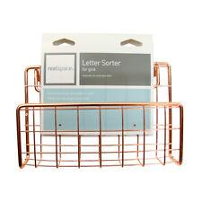 Realspace Letter Sorter Holder Rose Gold Metal Wire Office Desk Grid Organizer
