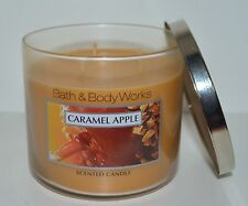 NEW BATH & BODY WORKS CARAMEL APPLE SCENTED CANDLE 3 WICK 14.5 OZ LARGE RARE HTF