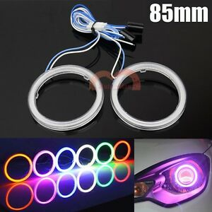 2x 85mm Purple Car Headlight COB Angel Eyes Halo Ring LED Light DRL Warning Lamp