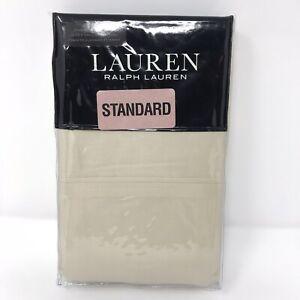 """Ralph Lauren Sateen Pillow Cases """"Oat"""" Light Beige Set of 2 Standard 100% Cotton"""