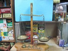 BRASS SCALE OF JUSTICE 10 BRASS WEIGHTS APOTHECARY WOOD BASE