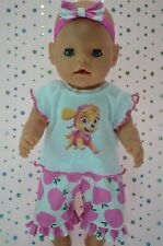 """Play n Wear Dolls Clothes To Fit 17"""" Baby Born PINK APPLE PANTS~TOP~HEADBAND"""