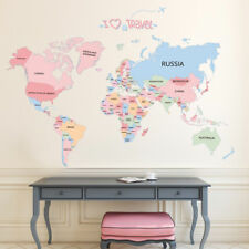 World map wall decals wall stickers ebay colorful world map wall decals educational sticker for kids bedroom nursery gift gumiabroncs Gallery