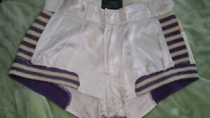 1950s BASKETBALL SHORTS STRIPPED PURPLE UNIFORM McGREGOR GOLDSMITH  S 26