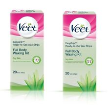 Veet Full Body Waxing Kit Ready To Use Wax Strips For Dry Skin 20 Strips x 2pack