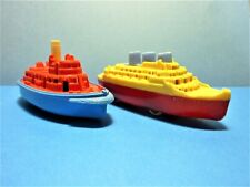 Renwal 1950s #142 Tugboat & #138 Ocean Liner, Hard Plastic Ships On Wheels