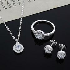 Casual 925 Silver Plated Crystal Necklace Earring Ring Set Jewelry SS US