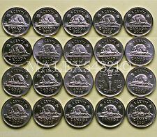 CANADA 2001P TO 2016 5 CENTS SET (20 COINS)         >>FREE $HIPPING IN CANADA!<<