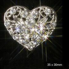 10 x FILIGREE HEART SILVER DIAMANTE EMBELLISHMENTS WEDDING CARD TOPPER SPARKLES