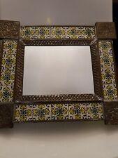 Vintage Wall Mirror In A Tiled Metal Frame (B)