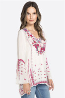 💕 Embroidered Shell JOHNNY WAS Blouse WISH STITCH V Neck Tunic Cupra XS $278 💕