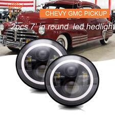 2Pcs 7 Inch Black LED Headlight DRL High Low Beam H4 H13 FOR CHEVY GMC PICKUP