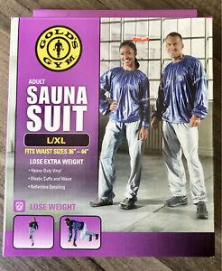 """Golds Gym Adult Sauna Suit Gray Blue L/XL Fits Waist Sizes 36""""- 44"""""""