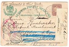 Mexico POSTAL CARD-VERA CRUZOCT/12/1898 TO GERMANY-redirected to NAVYZ SHIP-
