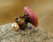 """10"""" Long Handmade Hat Pin With Square Coral Topper"""