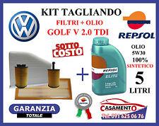 KIT TAGLIANDO OLIO MOTORE REPSOL ELITE 5W30 5LT + FILTRI VW GOLF V 2.0 TDI