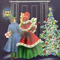 Vintage Mid Century Christmas Greeting Card Victorian Couple At Door Die Cut