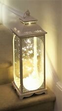 1 x 72 cm TALL  Cream Patterned Metal Glass Lantern with 40 LED lights