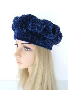 Bonnet hiver femme crochet fait-main laine chenille velours bleu nuit béret