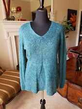 Coldwater Creek Gored Pullover Sweater Turquoise Blue Sz L (14-16) NWT