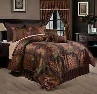 Deluxe Silky Brown Gold Jacquard Floral 9 pc Cal King Queen Comforter or Curtain