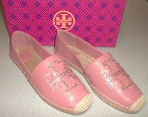 Tory Burch Ines Espadrille Spark Gold Leather Slip On Summer Shoes Size 9 ~ NIB