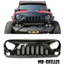 2007 - 2017 Jeep Wrangler JK Skull Style Grille Gloss Grill With Mesh 07 - 17