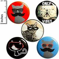 """Cat Pins for Backpacks Buttons Funny Weird Cool Kitty Gift Set 1"""" P24-3"""