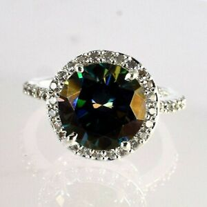 Classic Collection 6.01 Ct Green Diamond Solitaire Halo Wedding Proposal Ring
