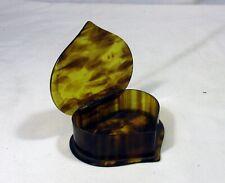 VINTAGE HEART SHAPED CELLULOID TORTOISE SHELL PATTERN TRINKET JEWELLERY BOX
