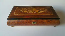 Burled Wood Musical Jewelry Box Inlaid Design from Italy Theme From Love Story