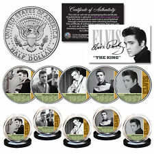 ELVIS PRESLEY Early Music Hits 1950s OFFICIAL JFK Kennedy Half Dollar 5-Coin Set
