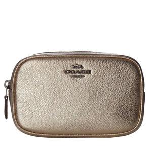 Coach 39940 Gold Metallic Pebbled Clutch/Shoulder/Waist Pouch/Crossbody Bag NWT