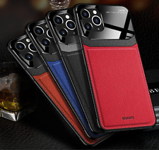 Luxury Premium Grained Leather Tempered Glass Phone Case Cover iPhone 11 11 Pro