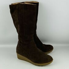 """Womens 7B Land's End Chalet Tall Boots Brown Suede Sherpa Lined 2"""" Wedge Heel"""